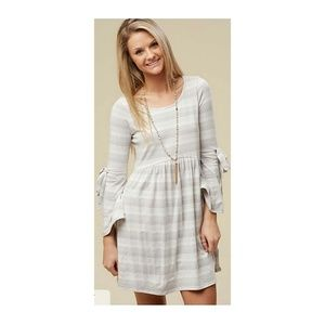 Altar'd State Monza Gray Striped Dress Large NWT